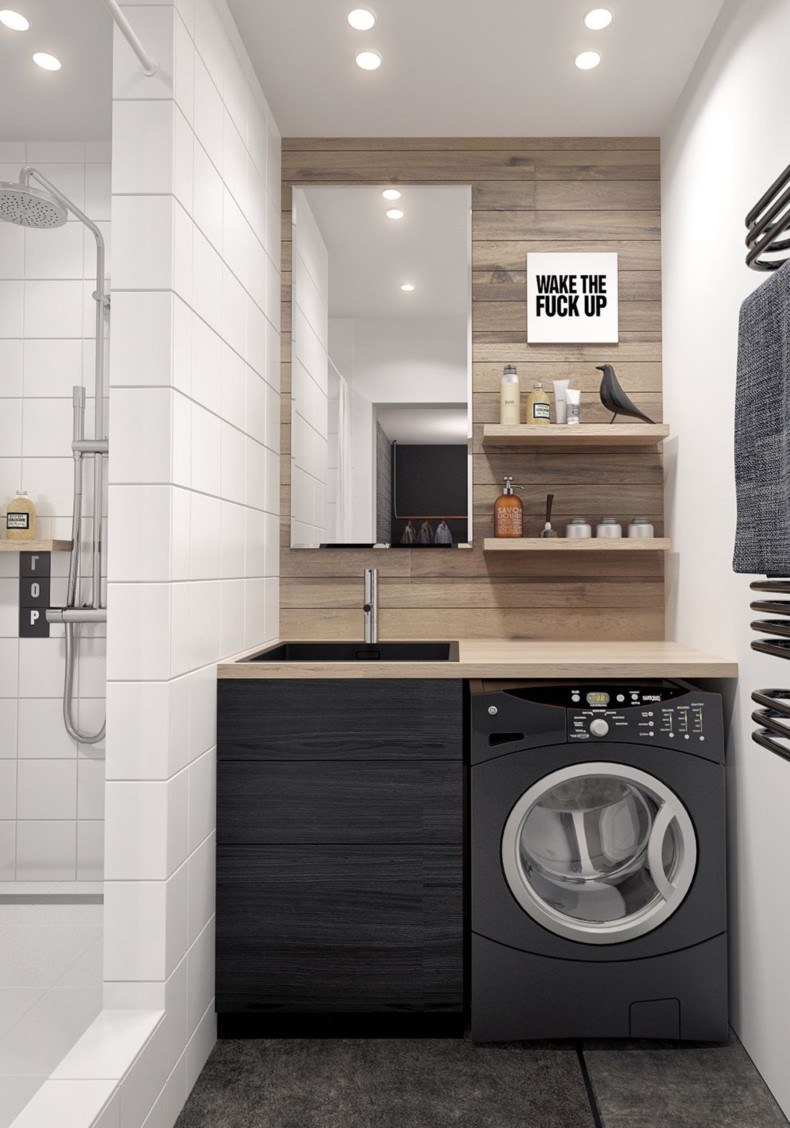 Masculine Modern Laundry Room
