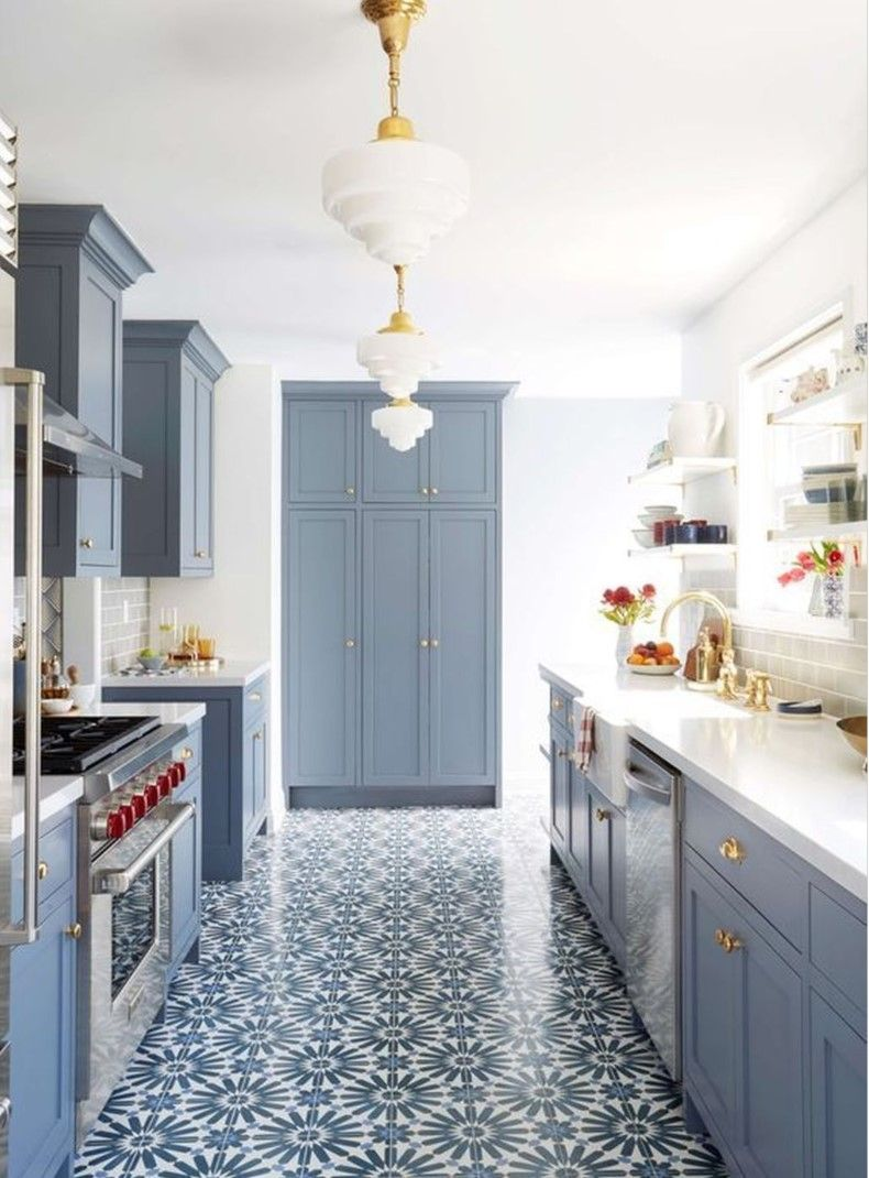 Modern Kitchen Design With Blue Cabinets