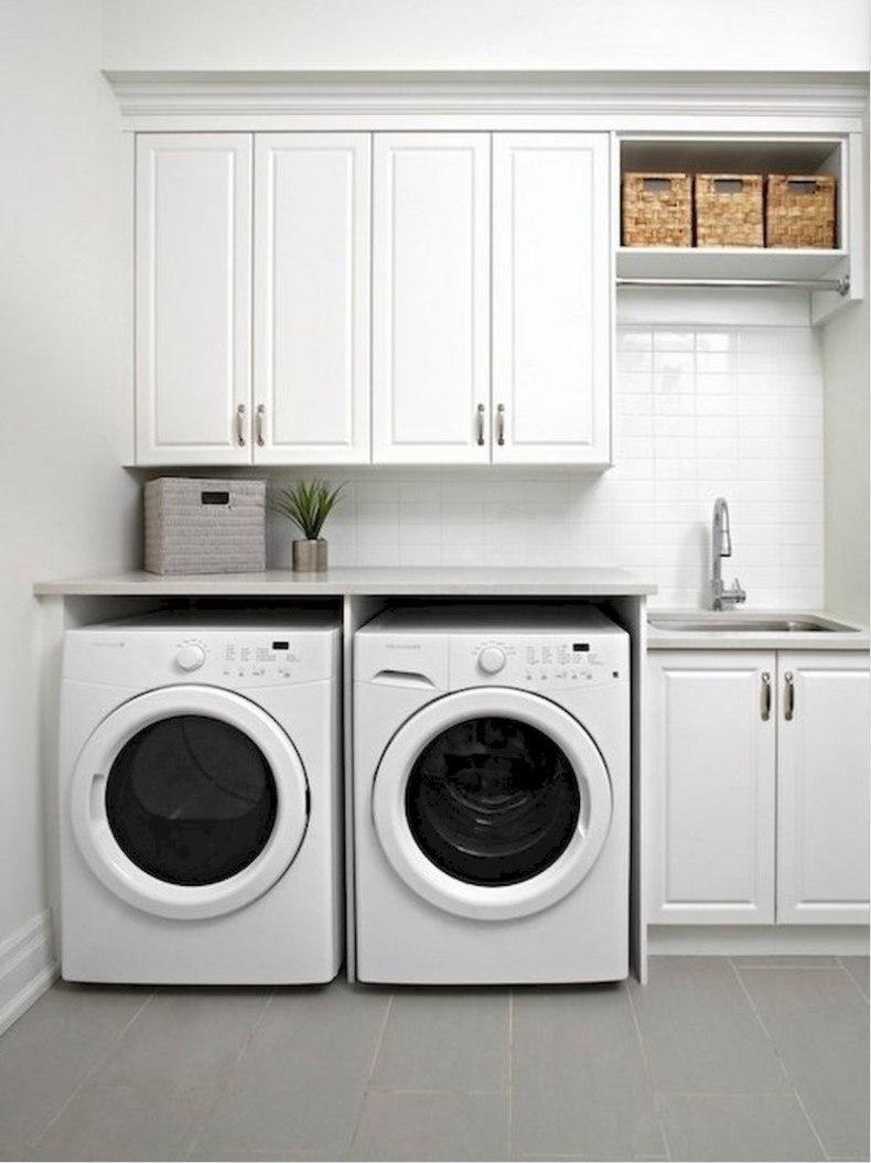 Monochromatically Modern Laundry Room Storage