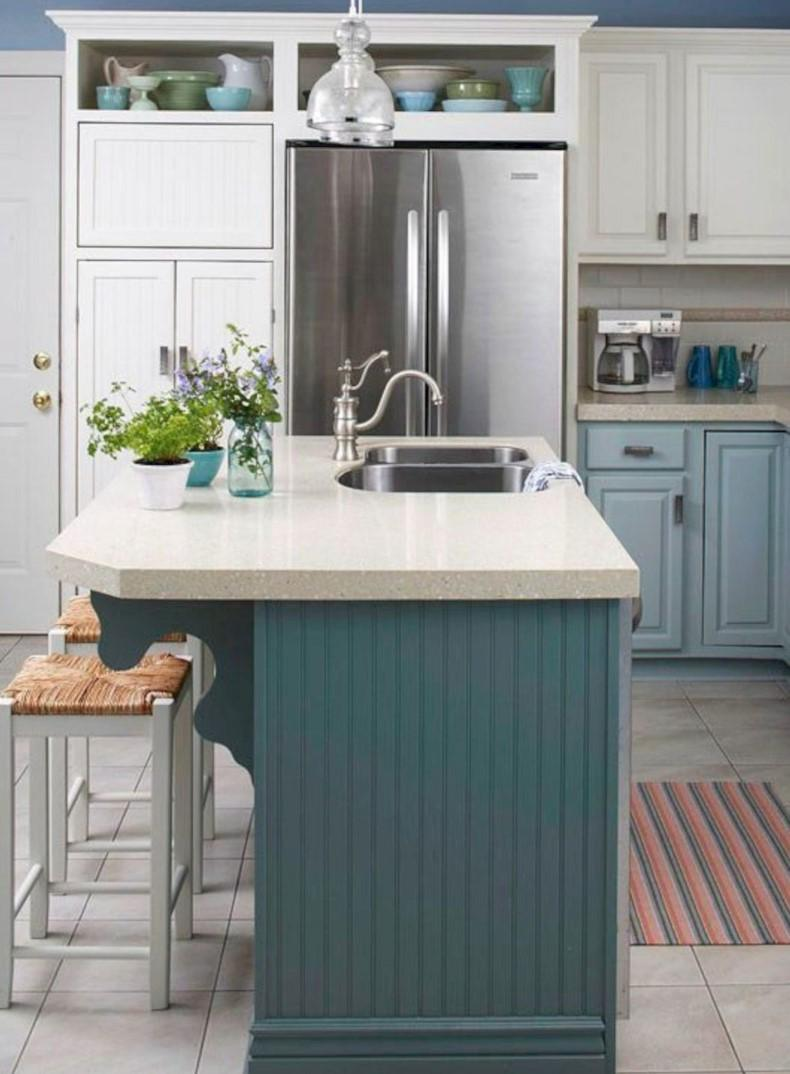 Here are popular ideas of custom teal kitchen island designs you may use.