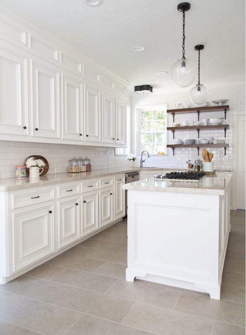 White Kitchen Cabinets With Subway Tiles