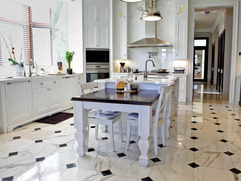 White Kitchen With Black And White Marble Floor