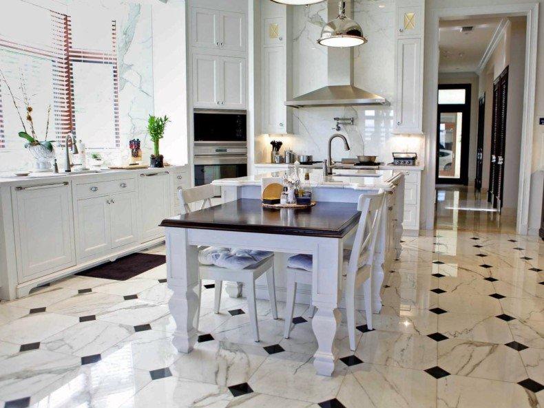 White Kitchen Marble Floor