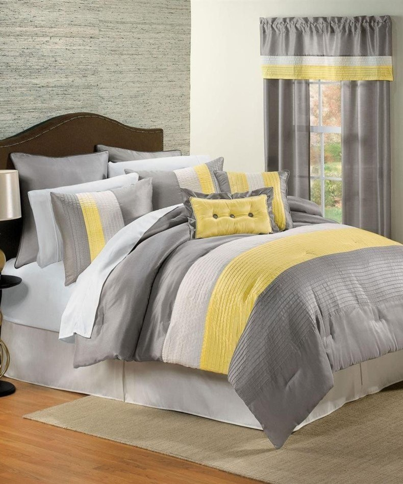 Grey and Yellow Bed