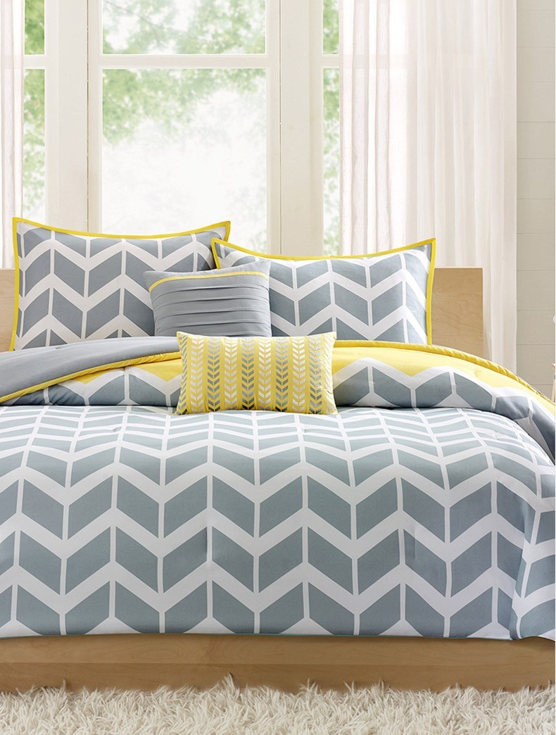 Young Chevron Grey And Yellow Bedroom