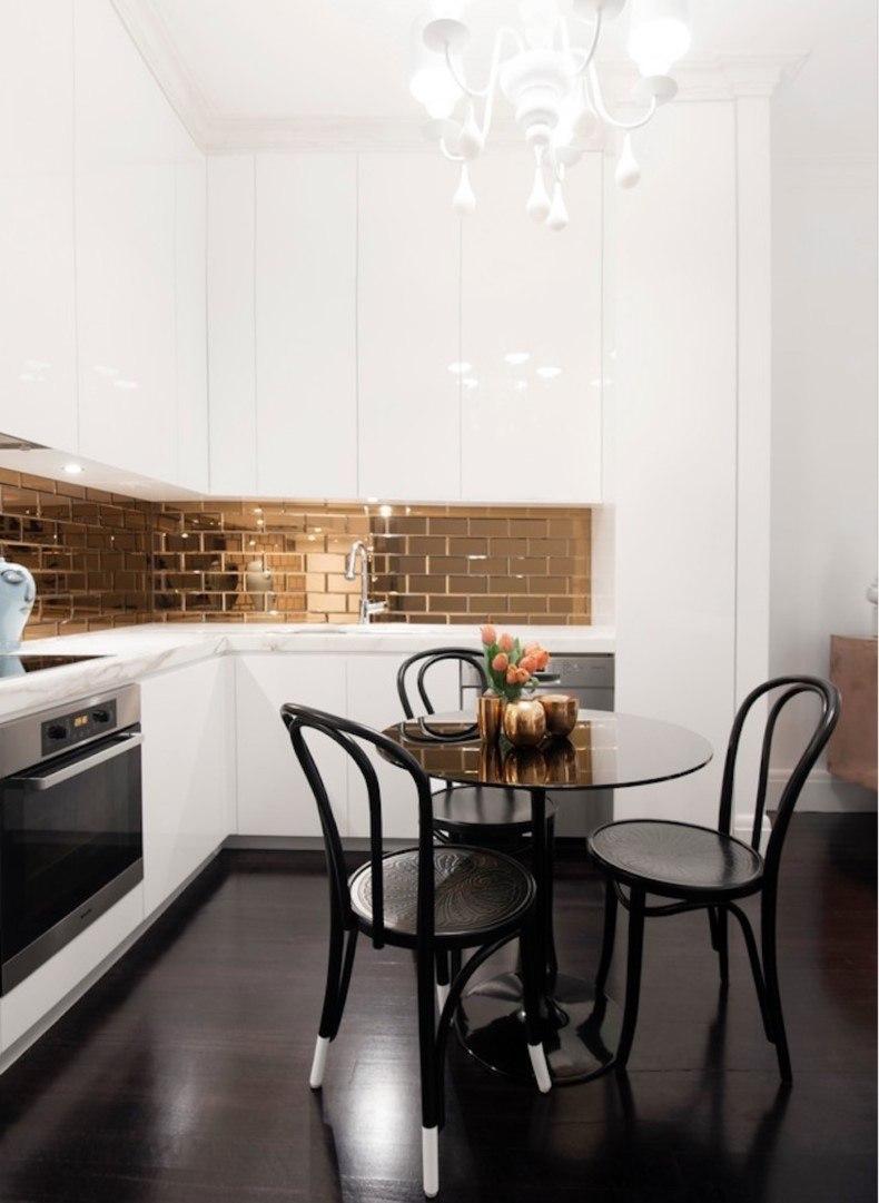 Black White And Gold Corner Kithen Design