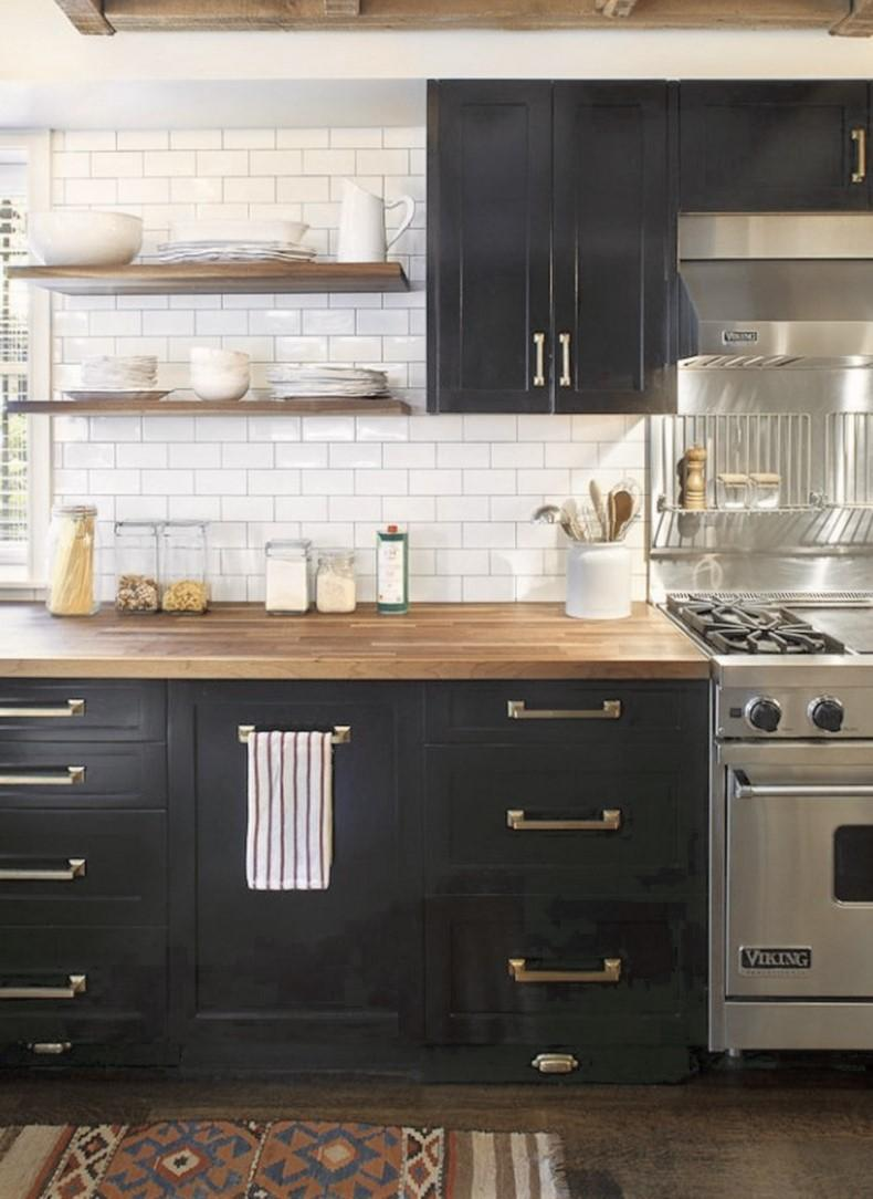 Black With Brass Accents Kitchen