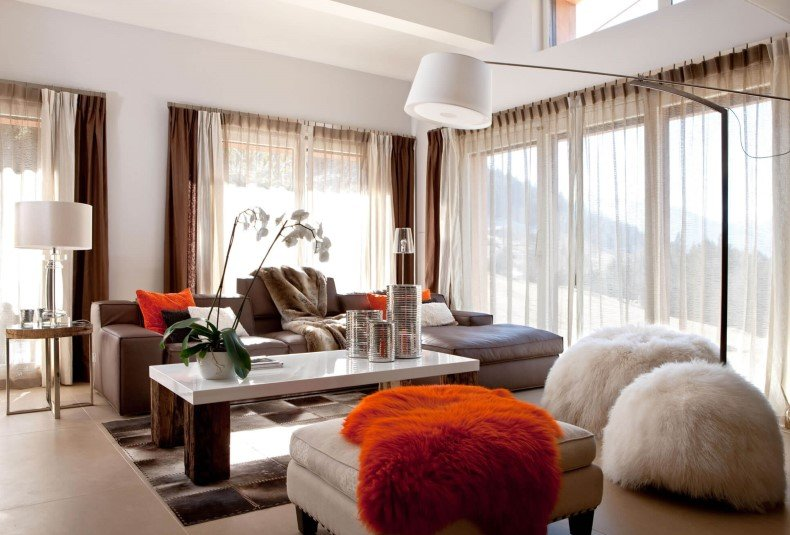 Burn Orange Decor Accents in Living Room