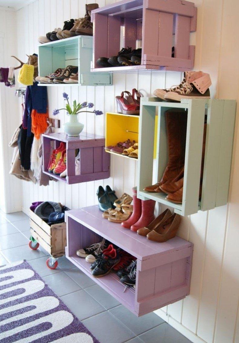 Colorful Mudroom Storage