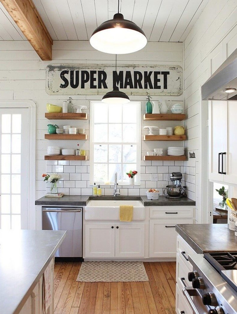 Farmhouse Kitchen Style With Wood Shelves