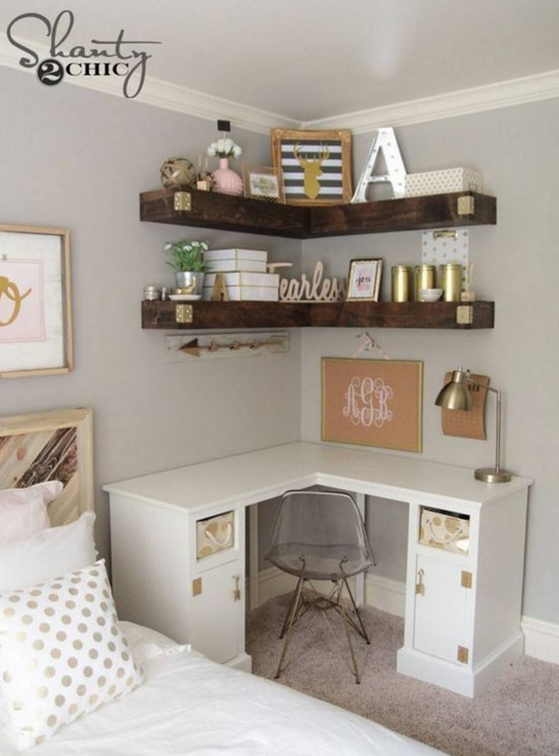 Do not forget about oak floating corner shelves that help to make and style your home area.
