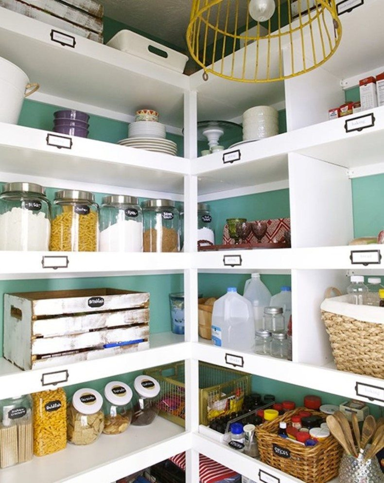 Floating shelves could be easily done from wooden pantry crates.