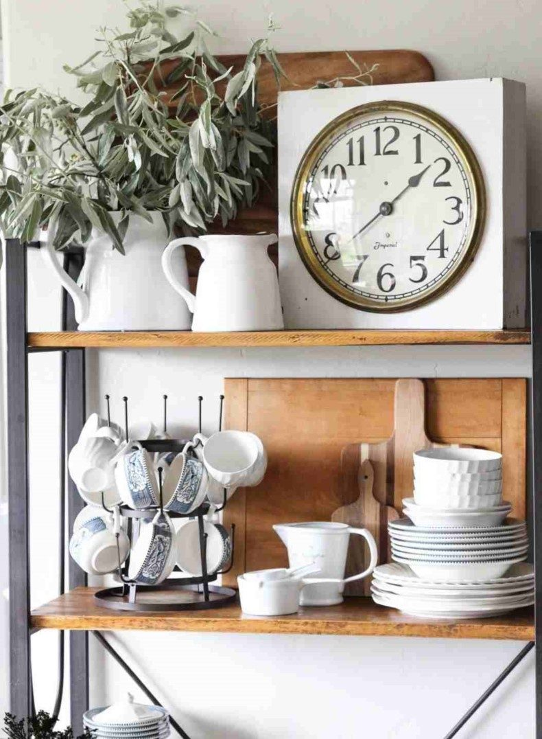 Vintage Clock on Kitchen Shelves