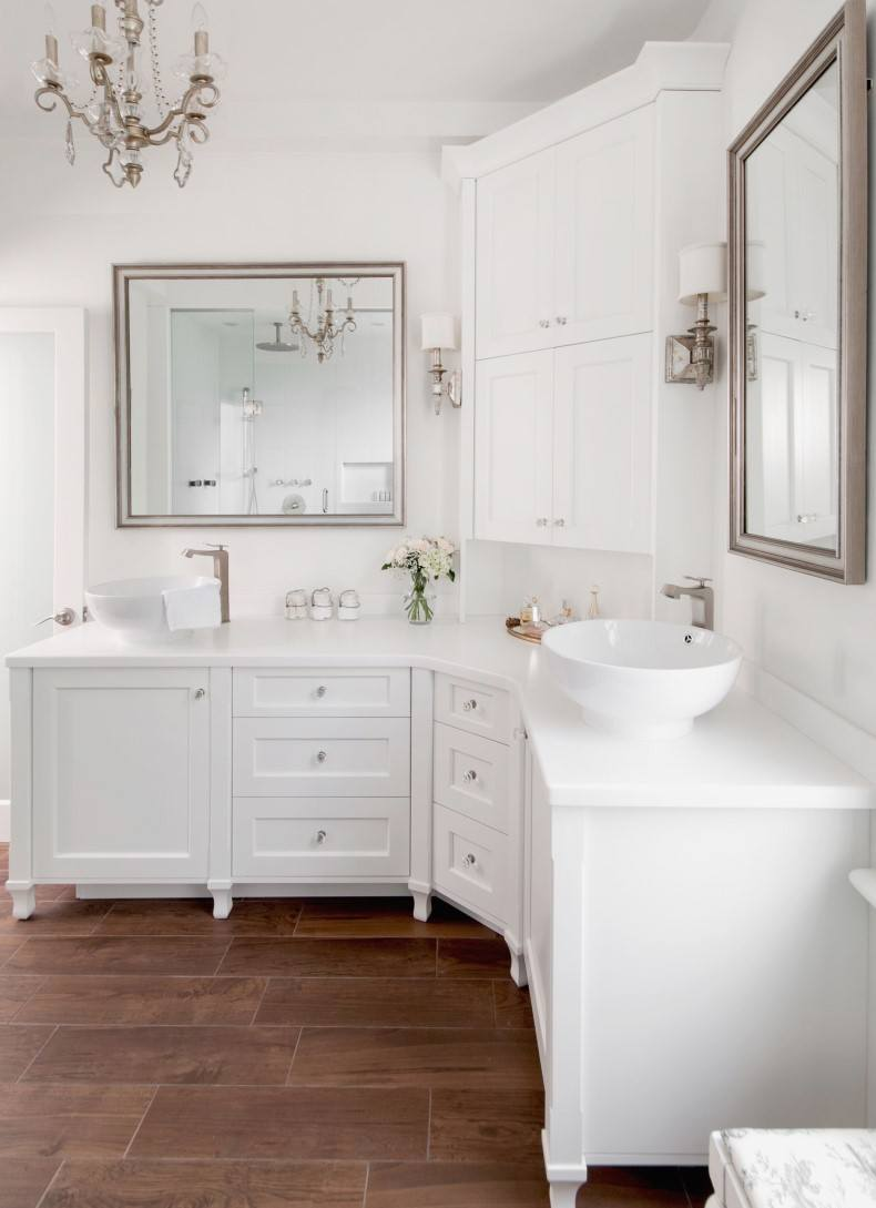 White Bathroom Curving Vanities