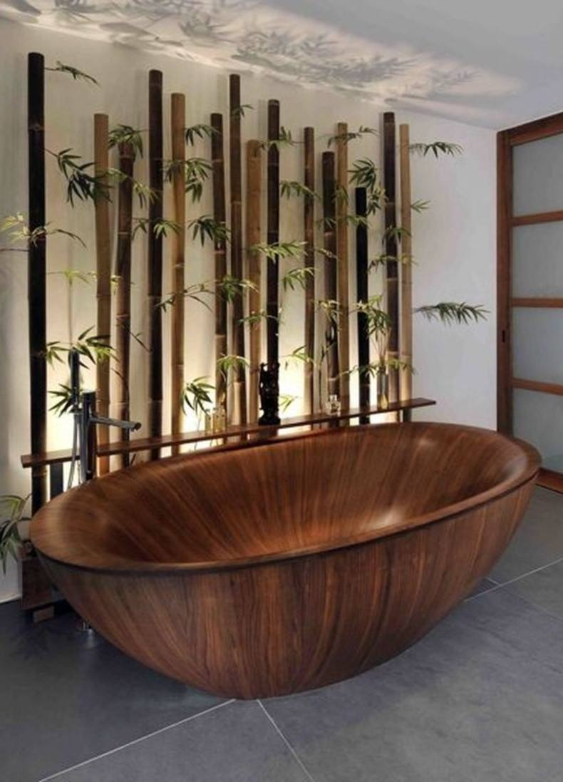 You can place such wall decals in the bathroom to create the calm and fresh feel of japanese bathroom design .