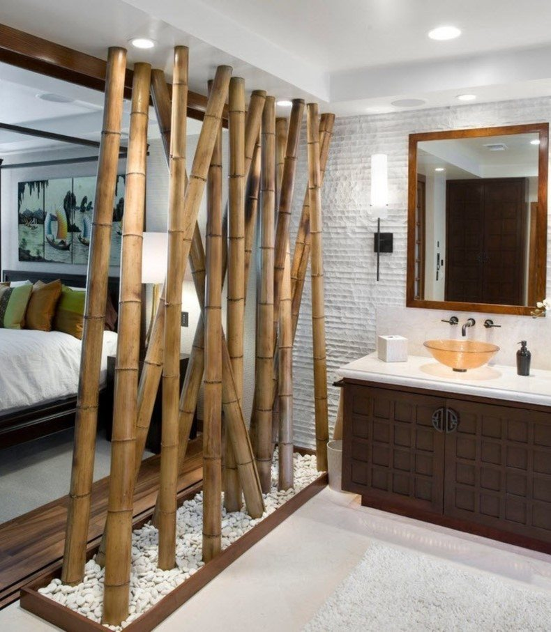 Original bamboo wall divider can bring the interesting ambiance to any nook or your home.