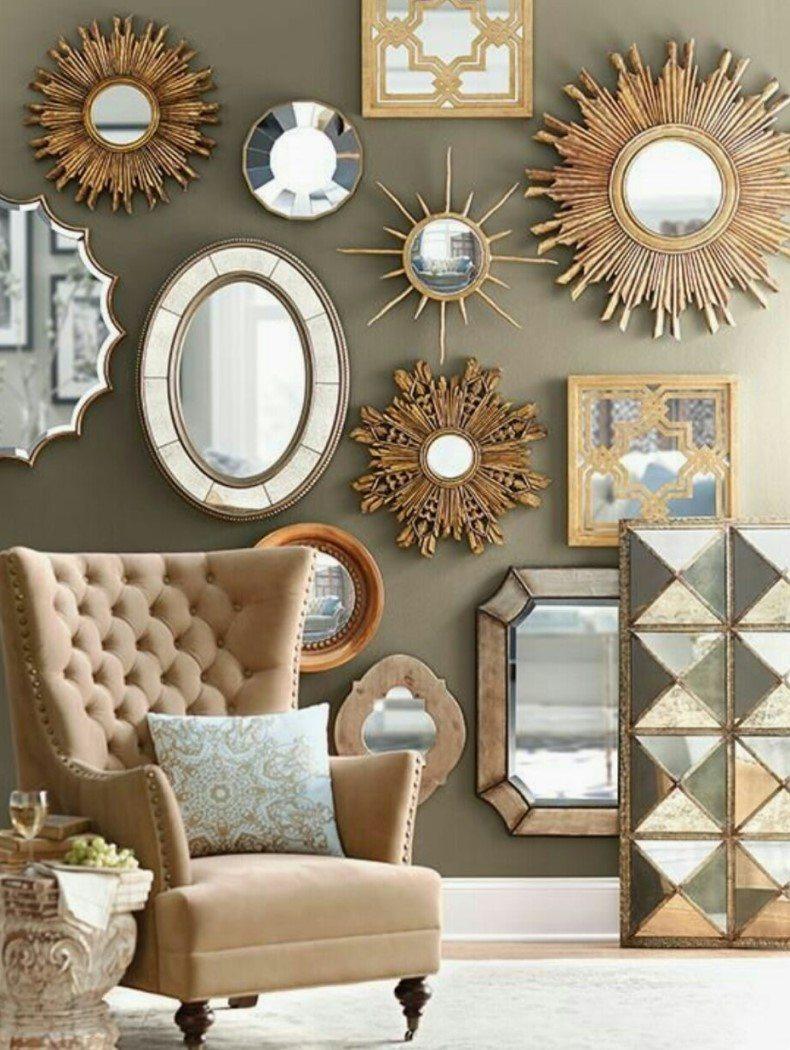 Entryway Chair Near Wall Mirrors