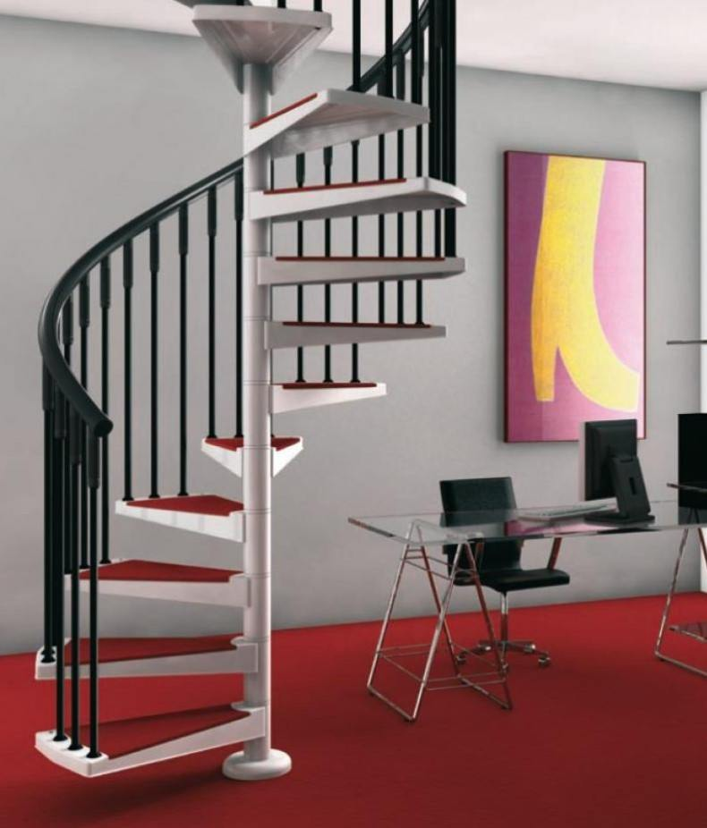 Modern Tiny House Red Spiral Staircase