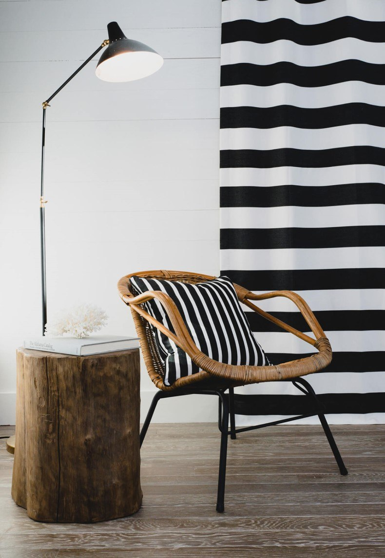 Pillow Drapery Black and White Stripe