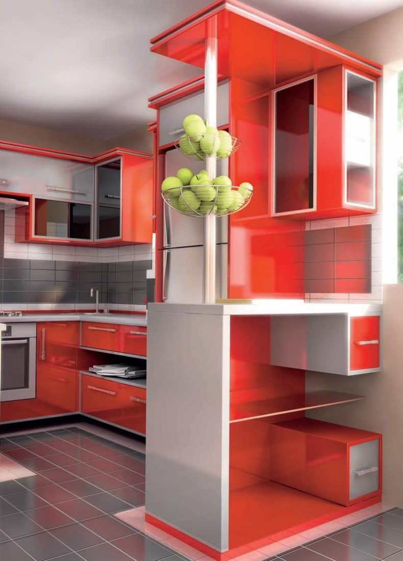 Red kitchen ideas always look fun, especially when they are placed in small original prints, so feel free to go with it.