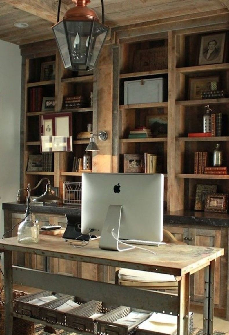 Upgrade your home office with original benches and others rustic office ideas.
