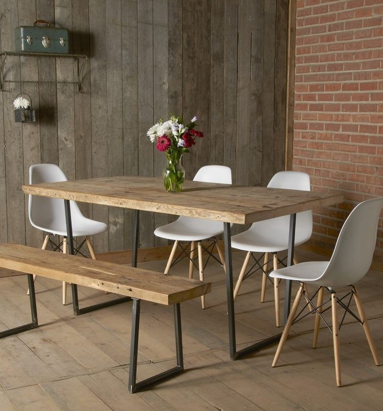 47 Calm And Airy Rustic Dining Room Designs: Industrial Reclaimed Dining Room Set