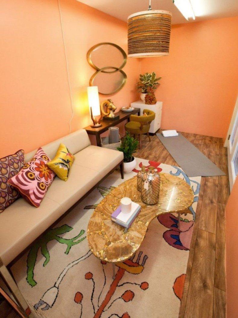 Peach Living Room Interior