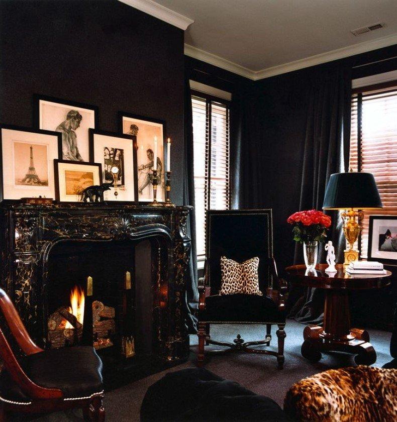 Black Monochromatic Living Room