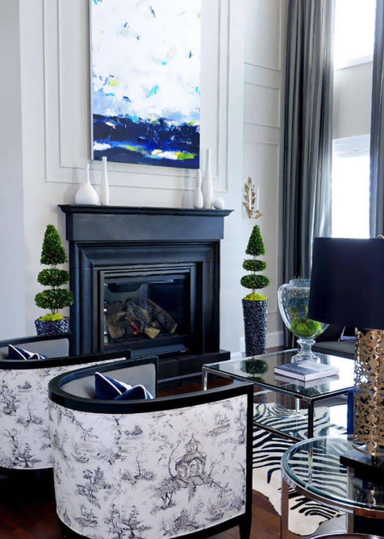 Contemporary Living Room Balanced Fireplace Decor