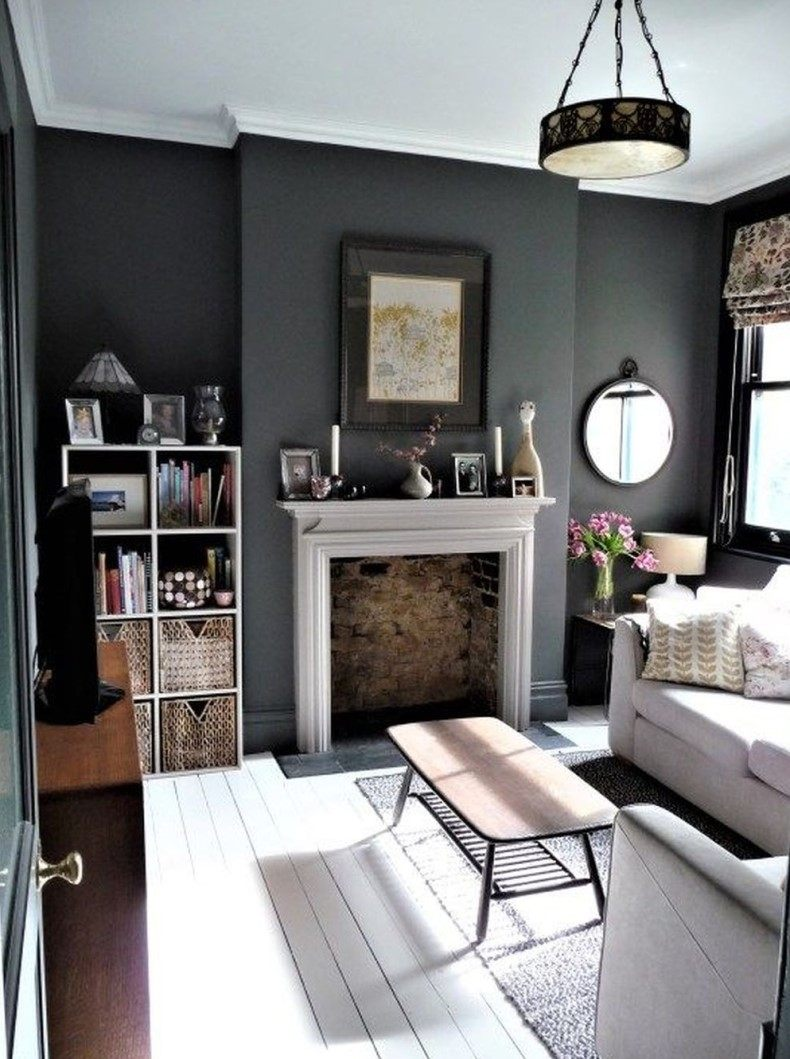 Dark gray living room tone is one of the indicators of modern style.