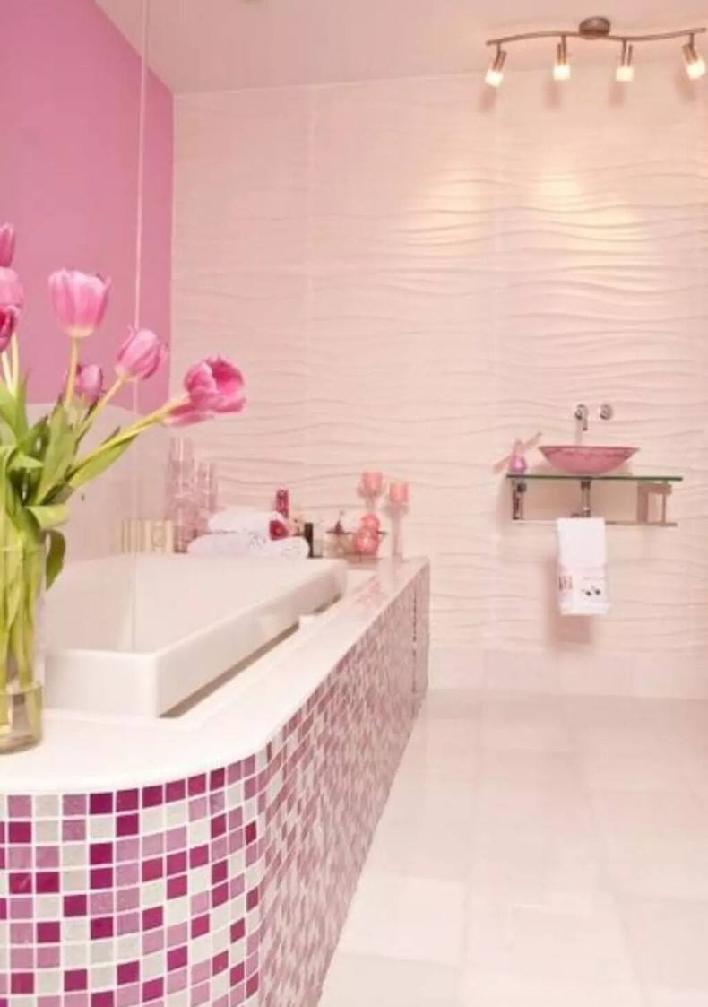 Modern Bathroom Featuring Glass Pink Mosaic