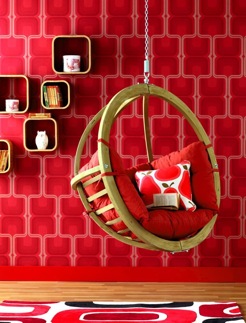 Red Cherry Wallpaper Hanging Chair