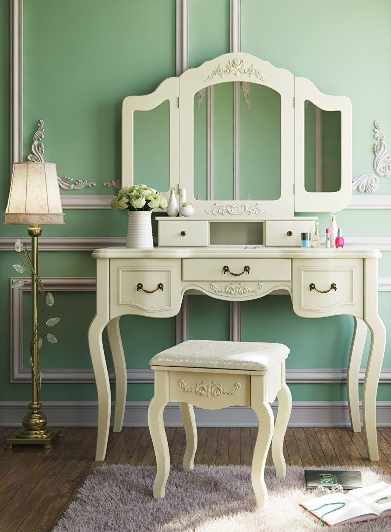 Dressing Table Set Makeup Desk with Stool & Mirror Bedroom