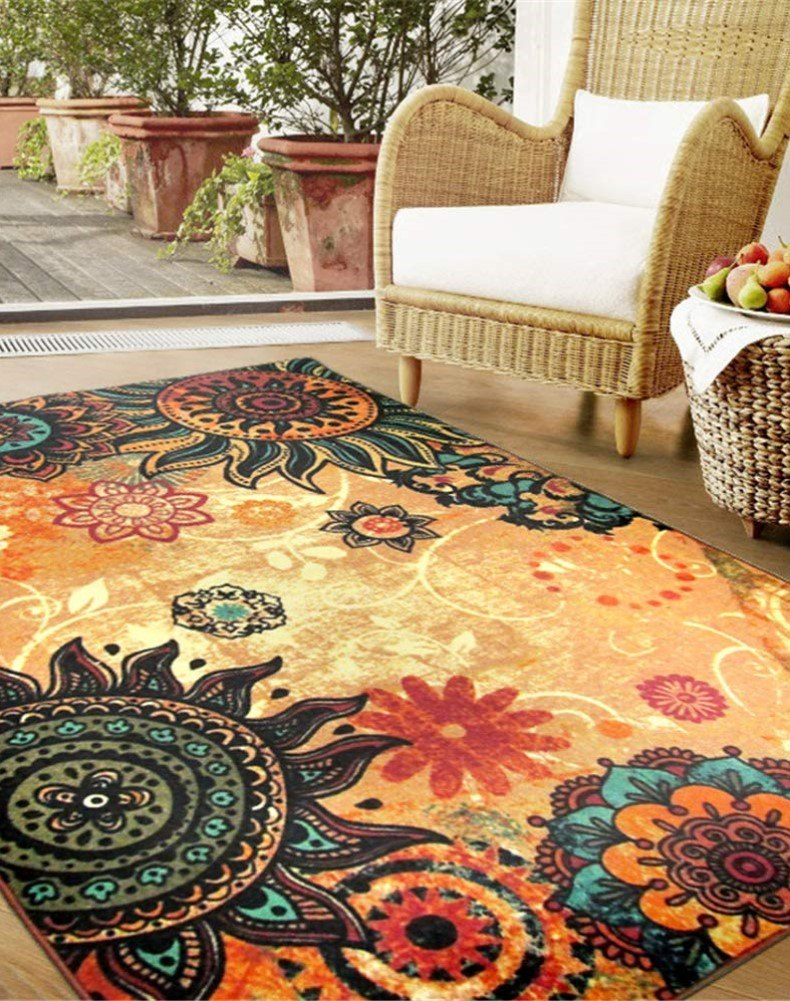 Boho Retro Style Living Room Floor Carpets