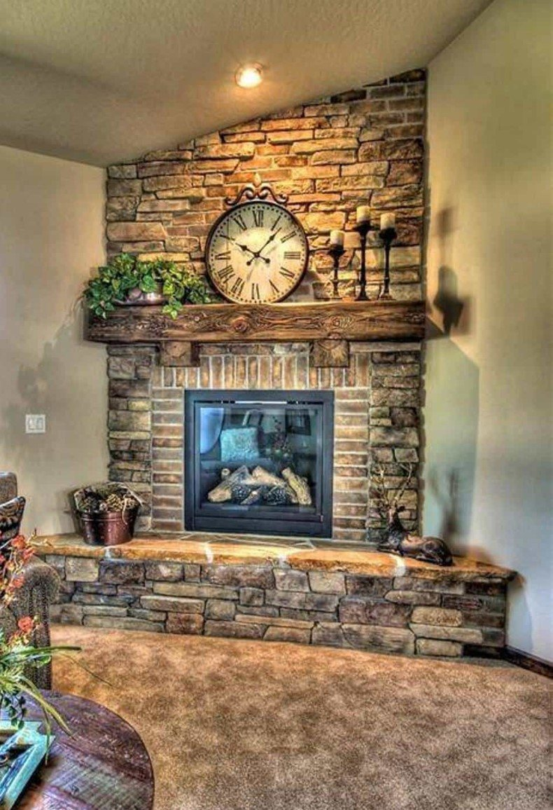 Corner fireplace ideas is the eye-catching area of the whole room.