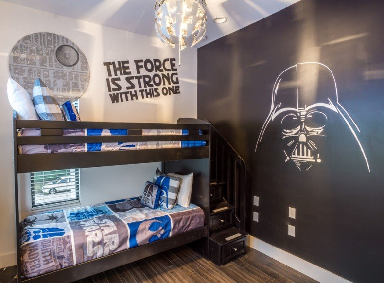 One of the trendiest monochrome designs of any room can be decorated by Star Wars bedroom decor.