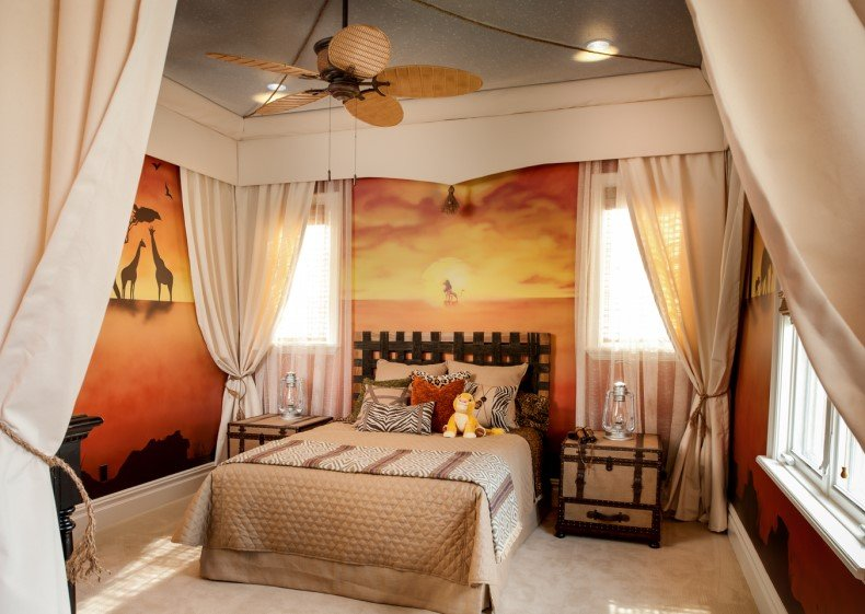 African themed bedroom furniture with a safari theme includes soft and rich animal pelts.