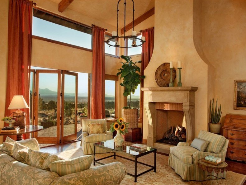 Luxury Elegant Brown Tuscan Farmhouse Living Room