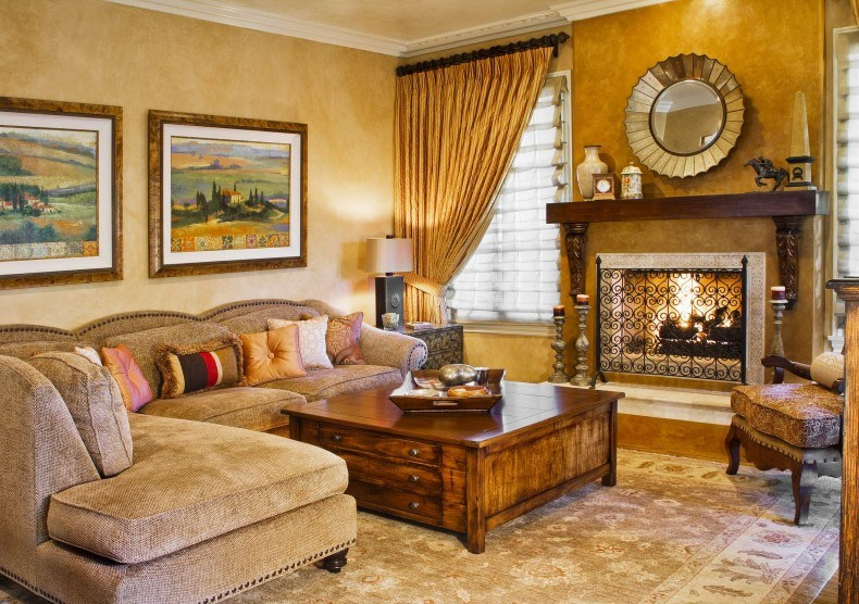 If you plan to buy Tuscan living room furniture collection then choose large sofas and armchairs.