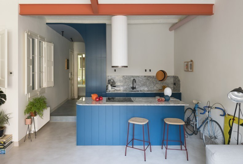 Beadboard Blue Kitchen