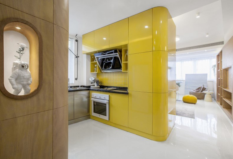 Minimalist Yellow Kitchen