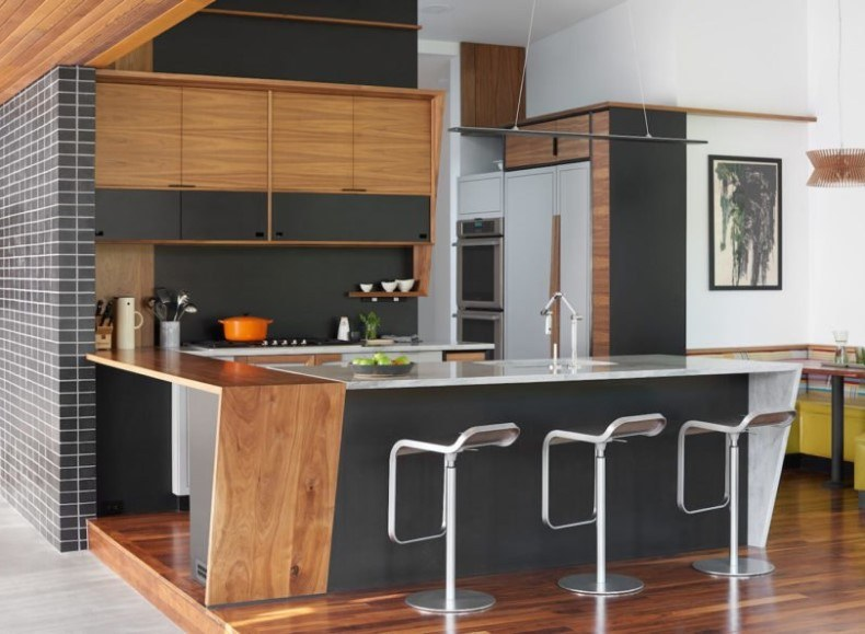 Modern Kitchen With Bar Chairs
