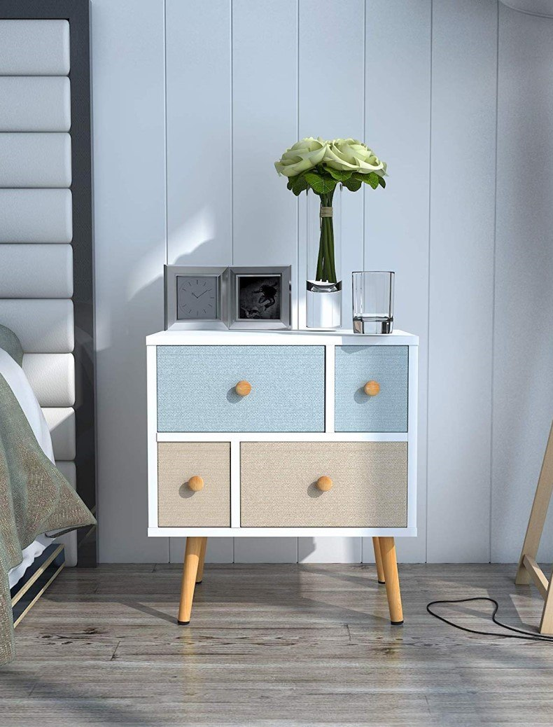 Nightstand with 4 Fabric Drawers