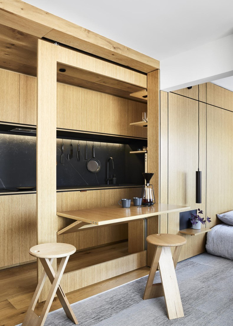 Sliding Wall and Folding Table in Small Apartment Decor