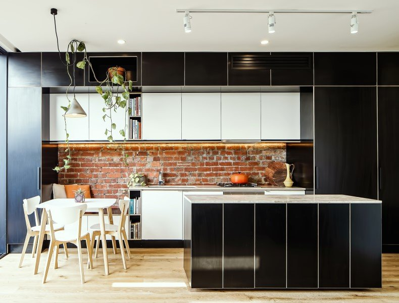 Wood Kitchen Decor With Exposed Bricks
