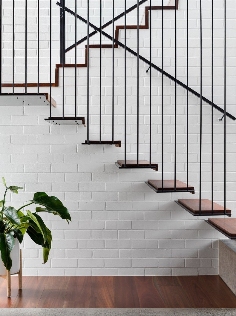 Staircase Wall Painted Bricks