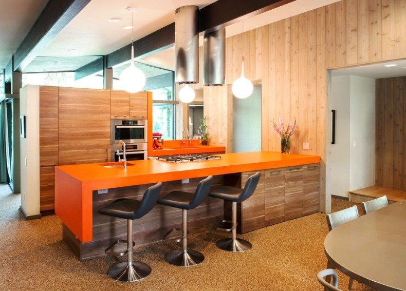 Kitchen Cabinets With Orange Countertop