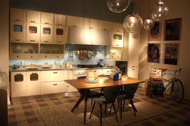 The one rule is using light colors for walls if you choose colored vintage look kitchen cabinets.