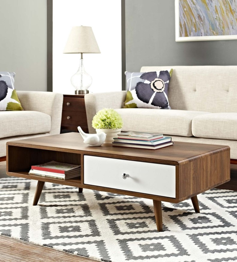 Modern mid-century walnut coffee table in this style make any living space attractive, comfortable, combine all decor around the room.